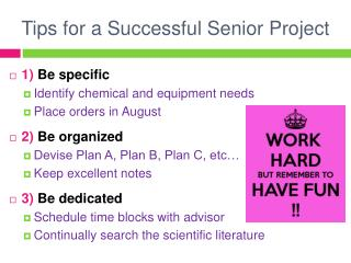 Tips for a Successful Senior Project