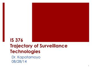 IS 376 Trajectory of Surveillance Technologies