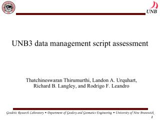 UNB3 data management script assessment