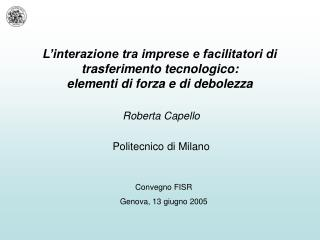 Roberta Capello Politecnico di Milano