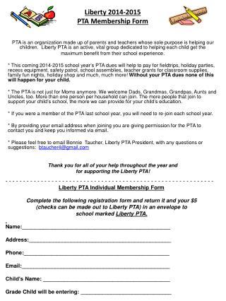 Liberty 2014-2015  PTA Membership Form
