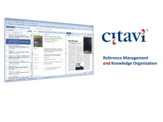 Reference Management  and Knowledge Organization