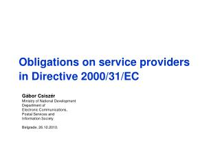 Obligations on service providers in Directive 2000/31/EC