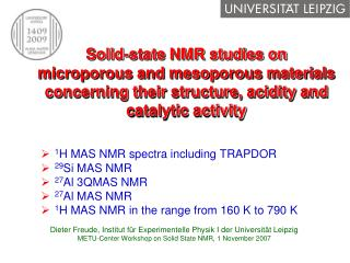 1 HMASNMR spectra including TRAPDOR 29 Si MAS NMR 27 Al 3QMAS NMR 27 Al MAS NMR