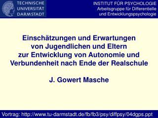 INSTITUT FÜR PSYCHOLOGIE Arbeitsgruppe für Differentielle und Entwicklungspsychologie