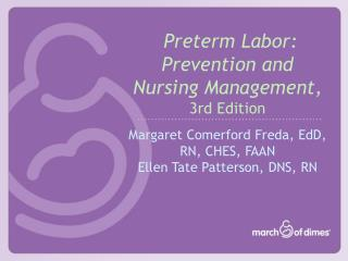 Preterm Labor: Prevention and Nursing Management, 3rd Edition