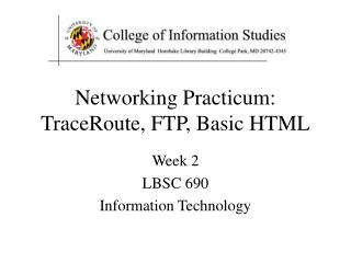 Networking Practicum: TraceRoute, FTP, Basic HTML