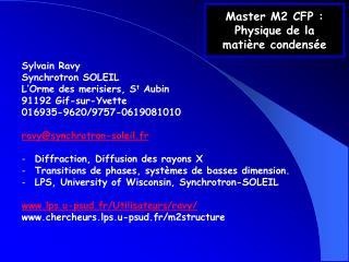 Master M2 CFP :  Physique de la  matière condensée