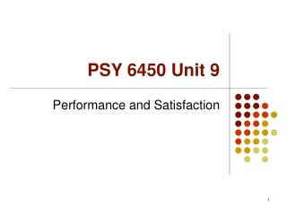 PSY 6450 Unit 9