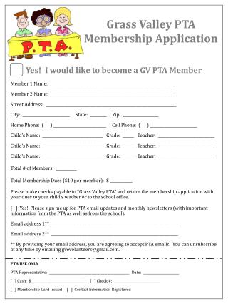 Grass Valley PTA Membership Application