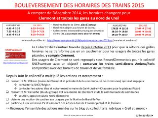 BOULEVERSEMENT DES HORAIRES DES TRAINS 2015