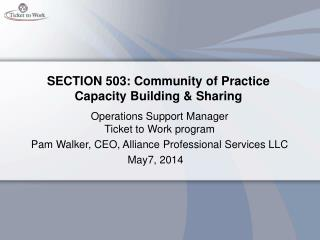 SECTION 503: Community of Practice Capacity Building & Sharing