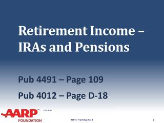 Retirement Income �  IRAs and Pensions