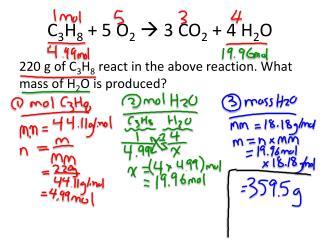 C 3 H 8  + 5 O 2  3 CO 2  + 4 H 2 O