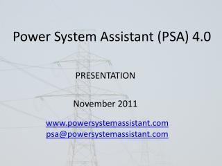 Power System Assistant (PSA) 4.0