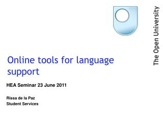 Online tools for language support