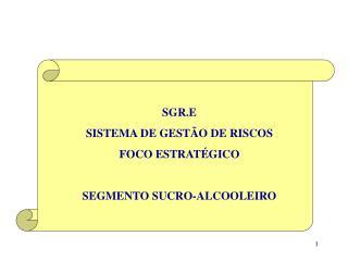 SGR.E SISTEMA DE GESTÃO DE RISCOS FOCO ESTRATÉGICO SEGMENTO SUCRO-ALCOOLEIRO