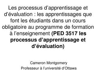Cameron Montgomery Professeur à l'université d'Ottawa
