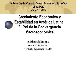 Andrés Solimano                                          Asesor Regional CEPAL, Naciones Unidas