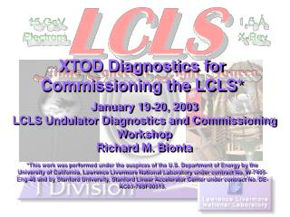 XTOD Diagnostics for Commissioning the LCLS*