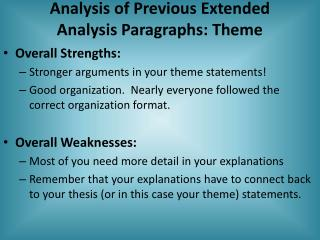 Analysis of Previous Extended Analysis Paragraphs: Theme
