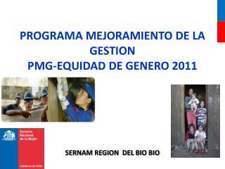 PROGRAMA MEJORAMIENTO DE LA GESTION PMG-EQUIDAD DE GENERO 2011 SERNAM REGION  DEL BIO BIO