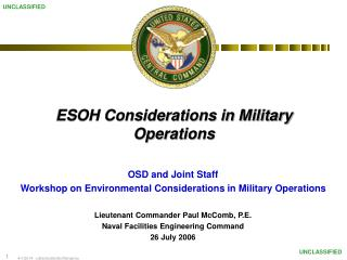 ESOH Considerations in Military Operations