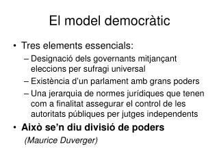 El model democràtic