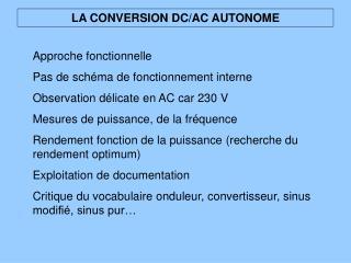 LA CONVERSION DC/AC AUTONOME