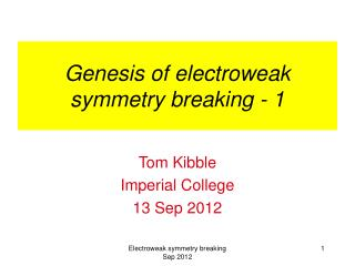 Genesis of electroweak symmetry breaking - 1