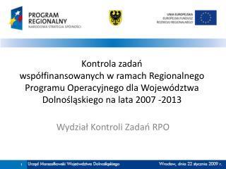 Wydział Kontroli Zadań RPO