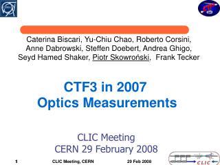 CTF3 in 2007 Optics Measurements