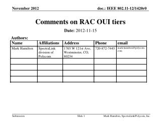 Comments on RAC OUI tiers