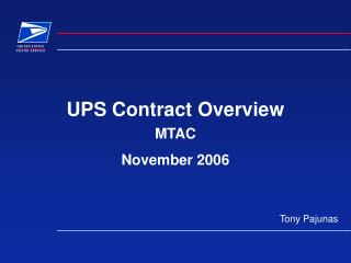 UPS Contract Overview