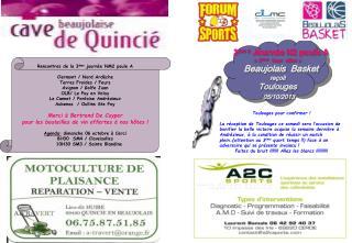 3 ème  Journée N2 poule A «3 ème   tour  aller »  Beaujolais  Basket reçoit Toulouges 05/10/2013