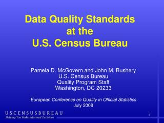 Data Quality Standards at the  U.S. Census Bureau
