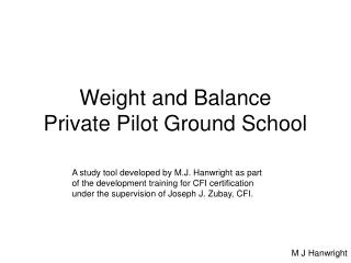 Weight and Balance Private Pilot Ground School