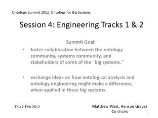 Session 4: Engineering Tracks 1 & 2
