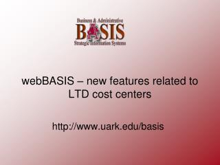 webBASIS  – new features related to LTD cost centers