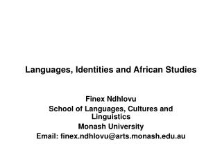 Languages, Identities and African Studies
