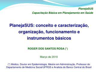 PlanejaSUS: conceito e caracterização, organização, funcionamento e instrumentos básicos