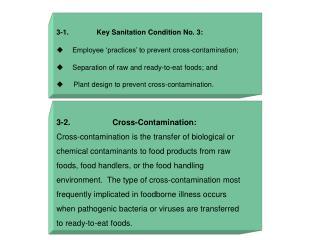 3-1.              Key Sanitation Condition No. 3: