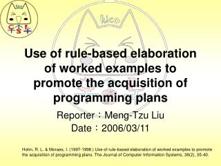 Use of rule-based elaboration of worked examples to promote the acquisition of programming plans