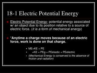 18-1 Electric Potential Energy