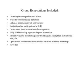Group Expectations Included: