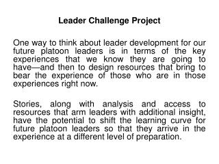 Leader Challenge Project