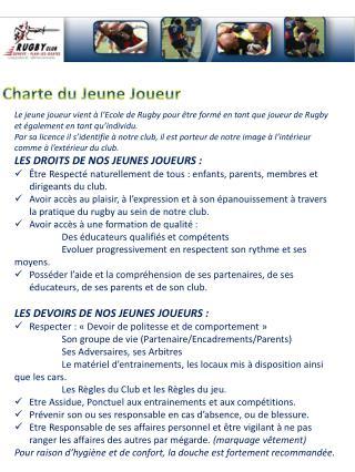 Charte du Jeune Joueur