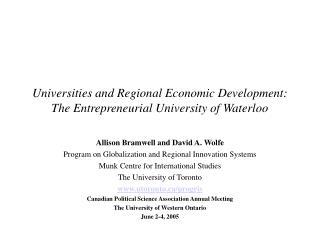 Universities and Regional Economic Development: The Entrepreneurial University of Waterloo