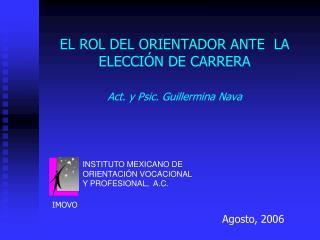 EL ROL DEL ORIENTADOR ANTE  LA ELECCIÓN DE CARRERA Act. y Psic. Guillermina Nava