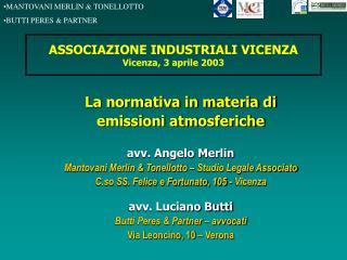 ASSOCIAZIONE INDUSTRIALI VICENZA Vicenza, 3 aprile 2003